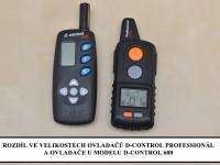 Elektronický výcvikový obojek d-control professional 1000 rozdíl D-control 600 - velikosti vysílačů