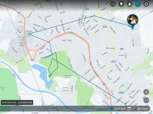 Ukázka webového rozhraní na ovládání GPS - historie chůze psa za 24 hodin