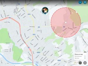 Ukázka webového rozhraní na ovládání GPS - nastavení bezpečné zony