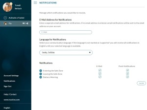 Ukázka webového rozhraní na ovládání GPS - nastavení notifikací
